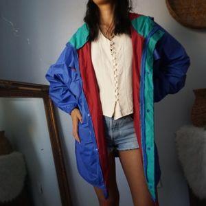 Vintage Columbia Color Block Blue Rain Jacket XXL